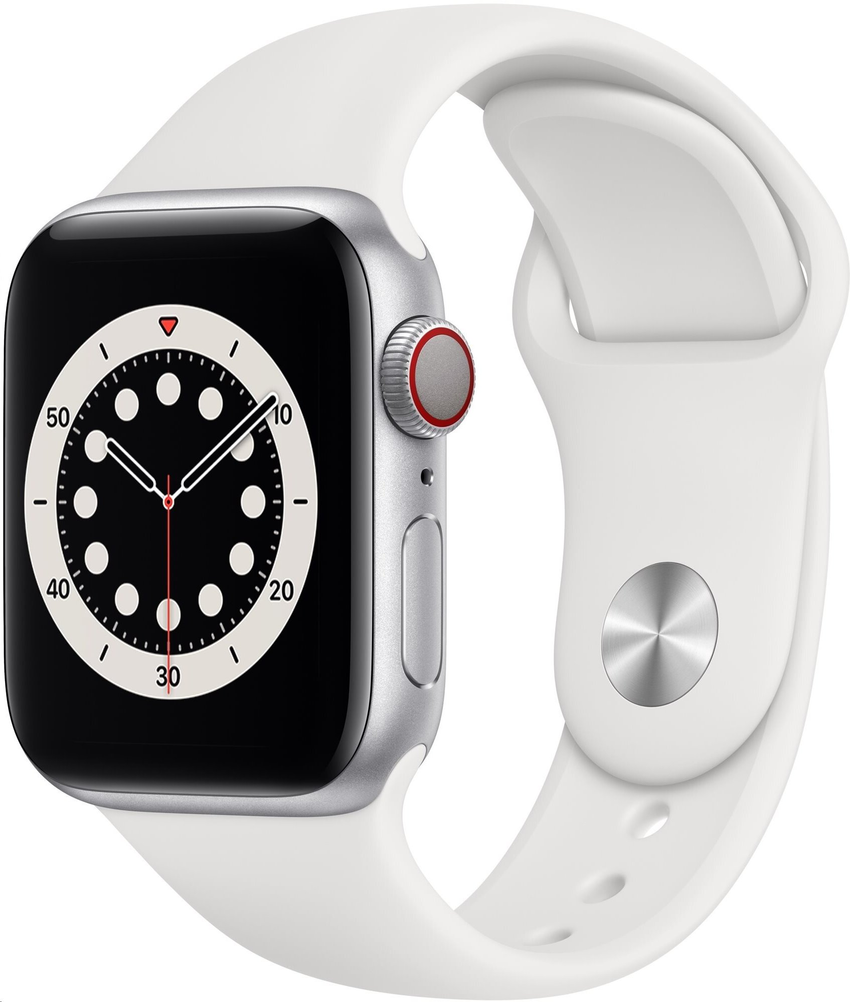 APPLE Watch Series 6 GPS+Cellular,40mm Silver Aluminium Case with White Sport Band