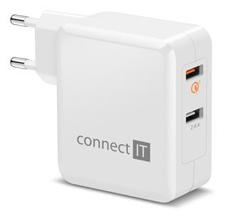 Connect IT InWallz CWC-3010-WH Quick Charge 3.0, 2x USB (3,4A), bílý