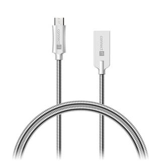 Connect IT Wirez Steel Knight MicroUSB - USB kabel, stříbrný, 1 m