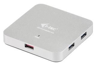 i-tec USB 3.0 Metal Charging HUB 4+1 Port s napájecím adaptérem, 4x USB 3.0 port, 1x nabíjecí USB port, Notebook Ultrabook Tablet