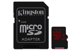 Kingston Micro SDXC 64GB (SDCA3/64GB) UHS-I Class 3 (čtení/zápis; 90/80MB/s + adapt)