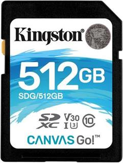 KINGSTON SDXC 512GB Canvas Go! UHS-I U3 (čtení/zápis: 90/45MB/s)