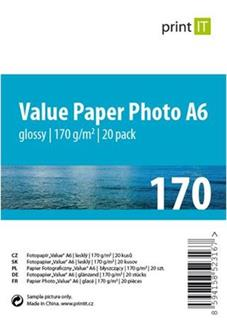 PRINT IT Value papír Photo A6 170 g/m2 Glossy 20pck/BAL