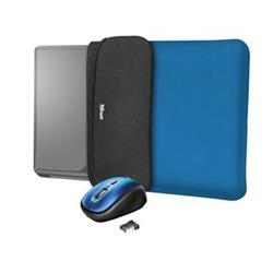 "Trust Yvo Reversible 15.6"" Laptop Sleeve + Wireless Mouse, modrá"