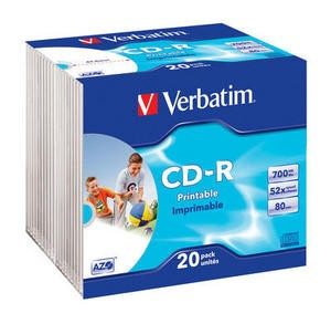 Verbatim CD-R PRINTABLE 700MB/80MIN 52x 20pack (slim)