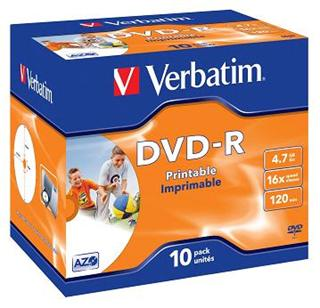 Verbatim DVD-R 4,7GB 16x Printable Jewel (10-pack)
