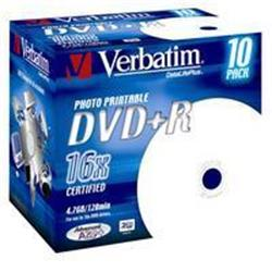 Verbatim DVD+R 4,7GB 16x Printable Jewel DLP (10-pack)
