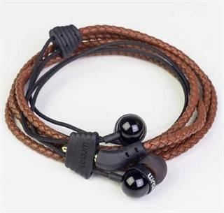 Wraps Leather Wrap in ear headphone, hnědá